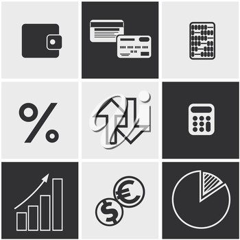 Set of money, finance, banking icons black and white color