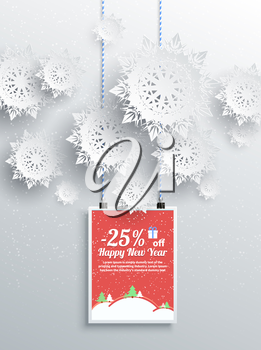 Merry Christmas background discount percent with snowflake and poster with text. Winter Christmas sale design elements