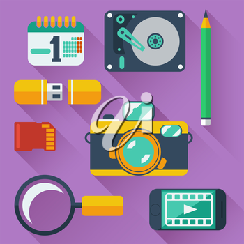 Set of data storage devices icons with digital camera, smartphone, HDD, memory card, USB and organizer