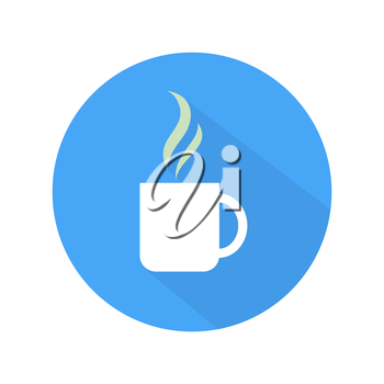 Coffee icon cup on blue and white background. Flat style