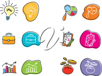 Set of drawing finance stickers icon carton design style
