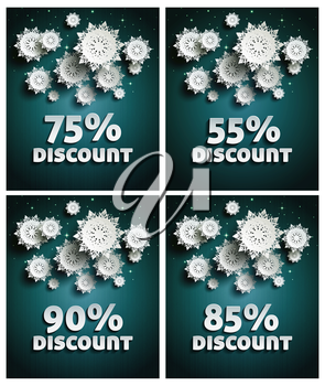 Falling snow background paper snowflakes over night dark sky with text discount set