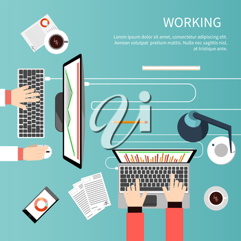 Concept of working process and workplace organization for business team. Top view of desk with businessman hands, laptops, computer, documents and different office objects in flat design