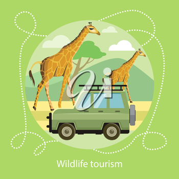 Wildlife Tourism. Jeep on the background of the mountains near the giraffes in the savanna. Icon of Traveling, Vacation. For web banners, marketing and promotional materials, presentation templates