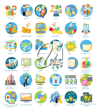 Set of busines round icons in different items such as business plan, statistics, business conference, balooning, top mobile applications, earnings from mobile applications in flat on white background