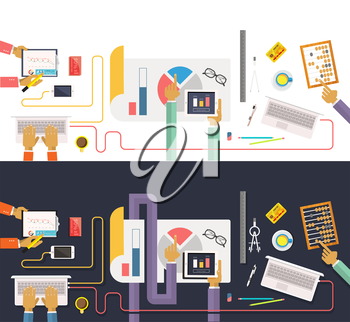 Concept of business process, worlflow top view. Data collection and analysis. Teamwork concept in flat design. Team works together on a project. Brainstorming in a meeting