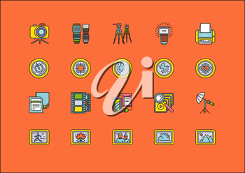 Set of colorful photographic equipment thin, lines, outline, strokes icons. Elements of photo processing. Digital camera with pictures and modes, photo items. For web and mobile applications