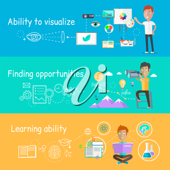 Business ability of visualize learning. Finding opportunities, professional learn and development, skill and motivation, vision strategy, person creative man illustration in flat design
