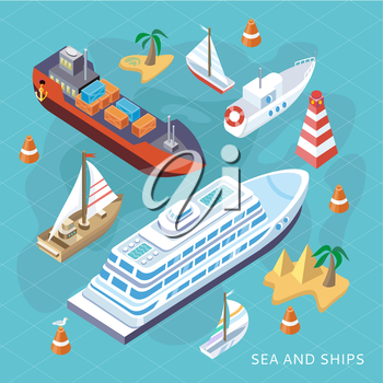 3d isometric set ships. Sea transport. Island and buoy, motorboat and containership, cruise and tanker, cargo shipping, boat transportation, ocean and vessel, vector illustration