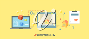 3D printer technology icon flat design. Future manufacturing, innovation prototype machine, product print on computer, process tech printing model, smart engineering illustration