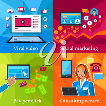Social marketing, consulting center concept. Pay per click, viral video, online technology, service communication, support call, consultant internet operator illustration