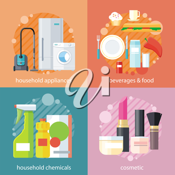 Household beverages food and cosmetic. Appliance and makeup fashion, lipstick and brush, powder and care, detergents and mascara, bottle product, drink and kitchen equipment set on banners