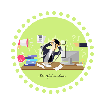Stressful condition icon flat isolated. Stress health person, disorder and problem, businessman depression, mental attack psychological, busy and chaos illustration