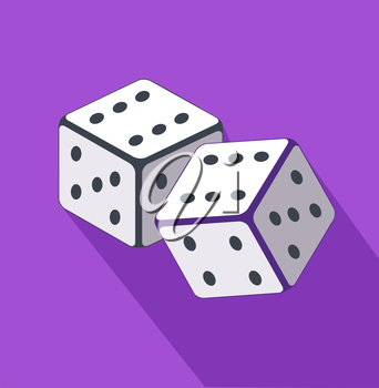 Dice flat design on background. Casino gambling, dice vector, gamble game, success play, luck bet, chance win, fortune gaming, throw random illustration