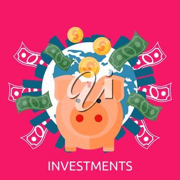 Investment concept capitalization, money savings. Piggy bank, coin planet. Investment concept, finance, money, investor stock market, savings business, bank. Pig of earth with buildings and money