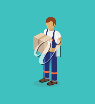 Isometric man delivery of box isolated design. 3D Delivery man, delivery icon, free delivery, courier service delivery, business delivery, box parcel, postman delivery express, delivery package