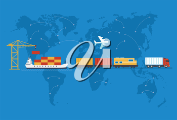 Shipping, delivery car, ship, plane transport on a background map of the world. Delivery vector truck. Delivery service van, ship, train, air. Delivery transport icon. Fast delivery concept. Delivery