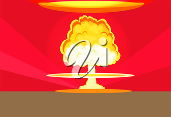 Bomb nuclear explosion design flat. Bomb danger, nuclear explosion, war nuclear, cloud mushroom atomic, energy bomb fire, armageddon bomb, power radioactive bomb, radiation bomb illustration