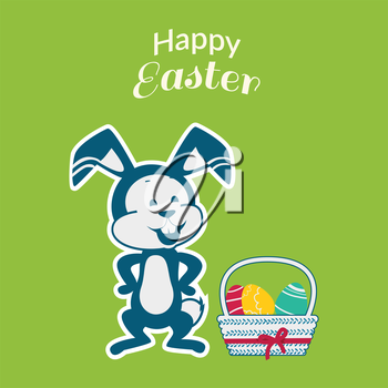 Easter rabbit icon design flat. Easter and easter bunny, rabbit and easter egg, egg and bunny, holiday easter and animal, hare easter, easter animal green, bunny easter with egg vector illustration