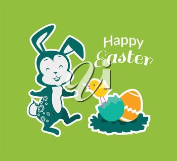 Easter rabbit icon design flat. Easter and easter bunny, rabbit and chicken easter egg, egg and bunny, holiday easter and animal, hare easter, easter animal, bunny easter with egg vector illustration