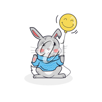 Gray hare with balloon isolated. Cute gray bunny in woolen sweater holding a paw balloon isolated on white background, animal fluffy easter rabbit in a warm blue clothes. Vector illustration