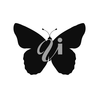Insects butterflies isolated on white background. Beautiful butterfly logo icon in black color. Insect flying isolated on white backdrop. Vector ilustration