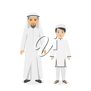 Saudi Arabia traditional clothes people. Arab traditional muslim, arabic man clothing, east arabian dress, ethnicity islamic face with beard, person father with son vector illustration