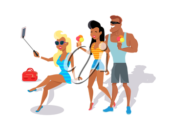People relax in the summer isolated on white background. Cute girl in black glasses makes selfie. Loving couple eating ice cream. Summer person young and happy relax isolated. Vector illustration
