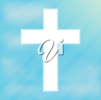 Sign of the cross, Christianity. Glowing white cream on a blue background. Religious symbol of Christianity. Crucifix and belief, catholicism and holy spirituality light shape, vector illustration