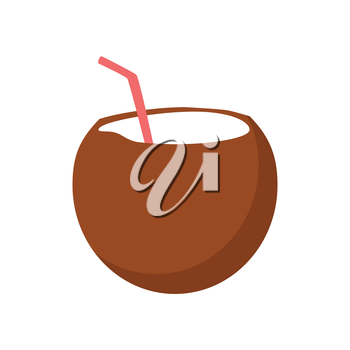 Fresh drinking coconut cocktail with a straw isolated on white background. Vector illustration