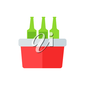 Portative beach freezer bag flat design icon. Picnic cooling lunch box isolated on white background. Small freezer-bag in red color with drinks. Vector illustration