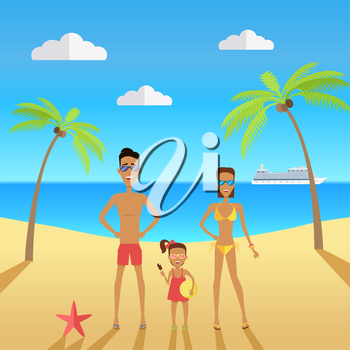 Happy family on beach during vacations. Father mother and daughter on the beach with palm trees near the sea. Vector illustration