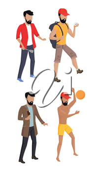 Summer vacation concept. Set vector illustrations mans summer characters. Male figures in flat design. Guy hiking, playing with ball, eating ice cream, cooking.