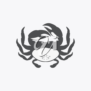 Funny cartoon crab icon isolated. Vector illustration
