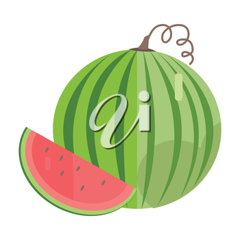 Watermelon vector in flat style design. Fruit illustration for conceptual banners, icons, mobile app pictogram, infographic, and logotype element. Isolated on white background.