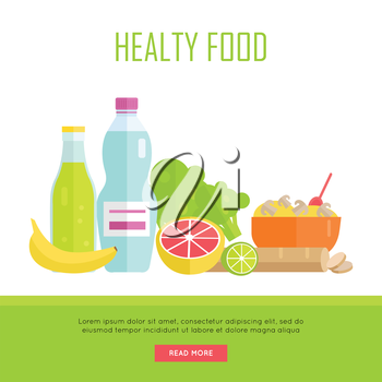 Healthy food concept web banner. Vector in flat design. Illustration of various food cereal, bread, soda, water, fruits and vegetables on white background for cafe, stores, gym web pages design.