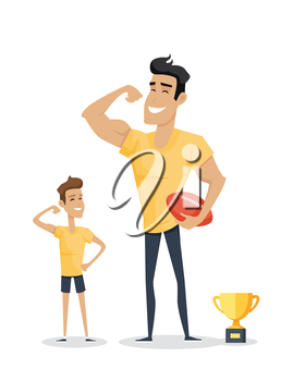 Father and his adorable son with basketball soccer and cup. Role model, greatest mentor. Part of series of fathers day celebration banners. Honoring dads. Fatherhood concept, paternal bonds. Vector