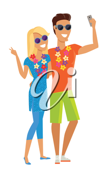 Summer vacation selfie concept. Honeymoon in exotic countries vector illustration. Flat style design. Couple in love with a necklace of flowers taking picture. Isolated on white.