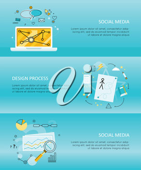 Set of social media flyer. Concepts of social media, design process, online business, online education, media content. Business blue flyer with different communication element. typographic template