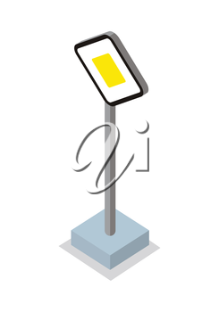 Priority road - traffic sign. Isometric 3d sign. Road sign on base. Standing is prohibited. City isometric object in flat. Drive safety. Isolated vector illustration on white background.