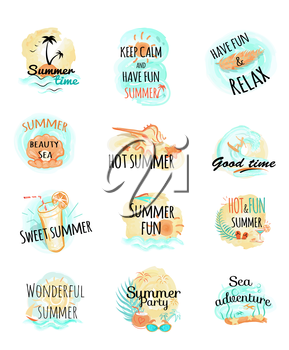 Set of summer logo icons. Summer time. Keep calm and have fun. Relax. Hot and fun summer at the sea. Wonderful summer. Party and adventure. Summer illustrations with headlines. Vector in fllat style