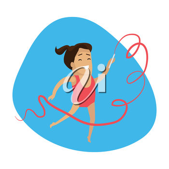 Artistic gymnastics sport web button. Summer games colorful banner. Competitions, achievements, best results. Athletes perform short routines on different apparatus, with less time for vault. Vector