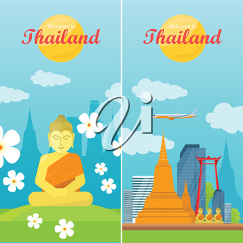 Thailand travelling banner. Landscape with traditional Thai landmarks. Thai god Buddha. Yoga zen. Indian, Buddhism, spiritual art, esoteric. Asian religion buddha statue with calm face. Vector