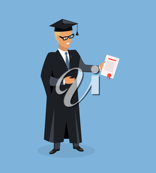 Happy boy after graduation. Man university graduate. Boy graduates in the mantle isolated. Vector illustration