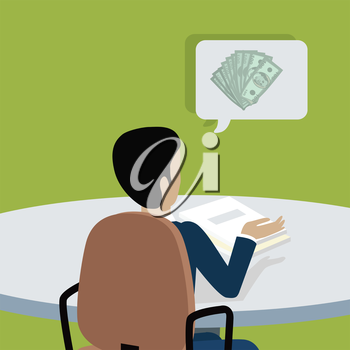 Man sitting on chair and pointing on something by hand. Back view. Man at work thinks how to earn more money. Endless work seven days a week. Part of series of work at the office. Vector illustration