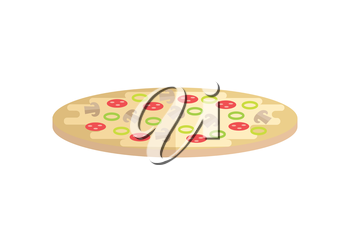 Pizza vector Illustration. Flat style design. Traditional italian pizza with vegetables and mushrooms. Illustration for pizzeria, restaurant ad, logo design, delivery service. isolated on white.