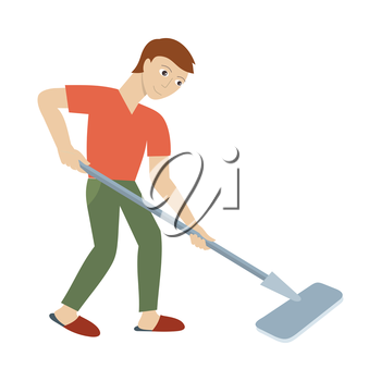 Cleaning service concept vector. Flat style design. Smiling man character washing floor mop. Small private business. Illustration for housekeeping companies and services advertising