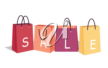 Sale vector concept. Flat design. Color shopping paper bags with letters. Best offer concept. For store goods sales and discounts advertising. Product label design. Black friday. On white background