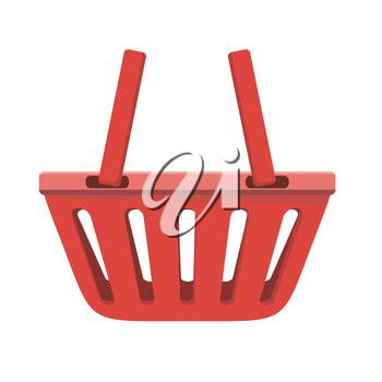 Illustration of red shopping basket. One plastic shopping basket. Shopping basket icon. Isolated object in flat design on white background. Vector illustration.