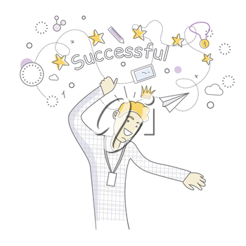 Happy man dancing. Man dancing icon. Successful man having fun and dancing. Man rejoices, celebrates his victory, success, winner. Successful banner. Line art. Isolated object on white background.